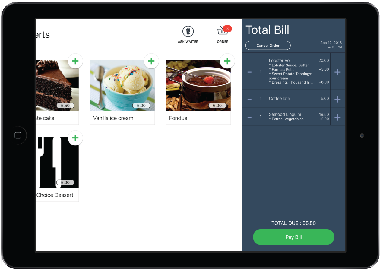 self ordering restaurant golf pos