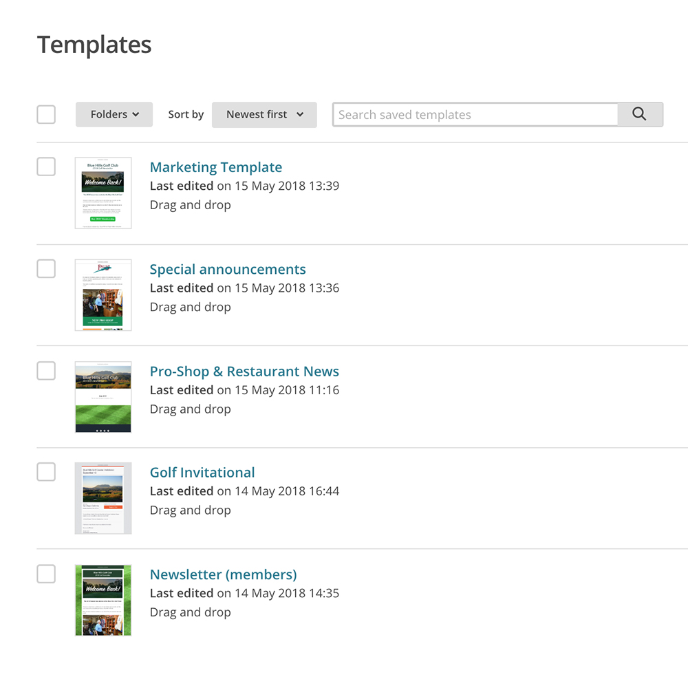 golf email marketing templates